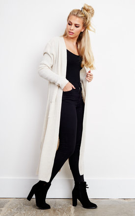 Stone Ribbed Long Knitted Cardigan by Bella and Blue