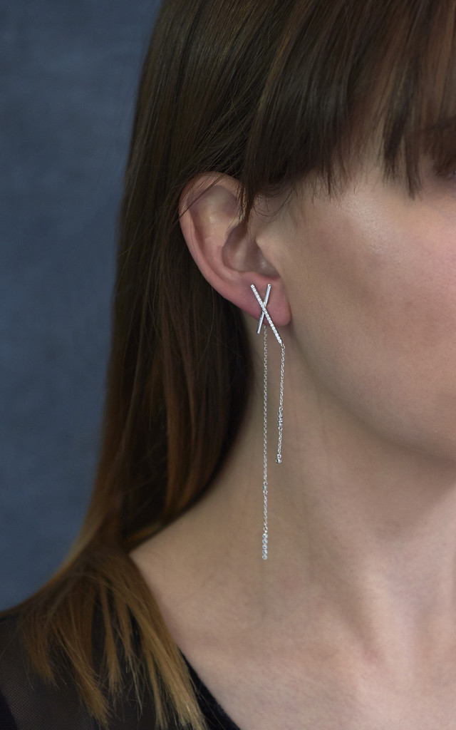 Asymmetric Statement Bar Earrings White Gold by DOSE of ROSE