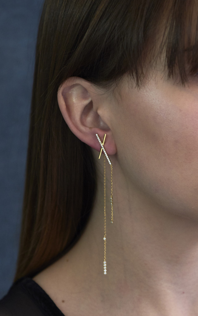 Asymmetric Statement Bar Earrings Gold by DOSE of ROSE