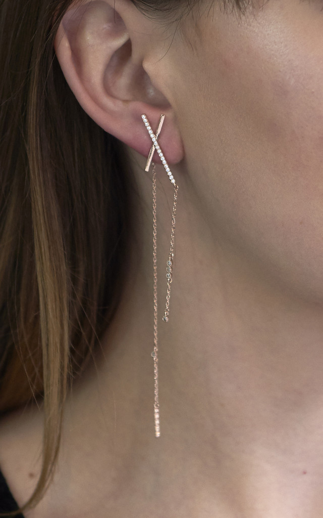 Asymmetric Statement Bar Earrings Rose Gold by DOSE of ROSE