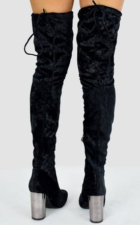 Black Crushed Velvet Mirrored Heel Knee High Boots by AJ | VOYAGE