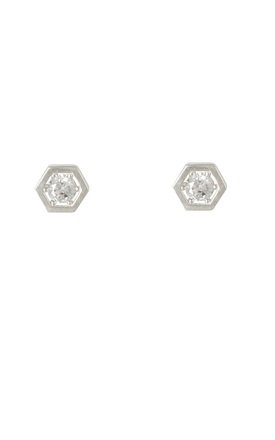 Sterling Silver Hexagon Cubic Stud Earrings by DOSE of ROSE