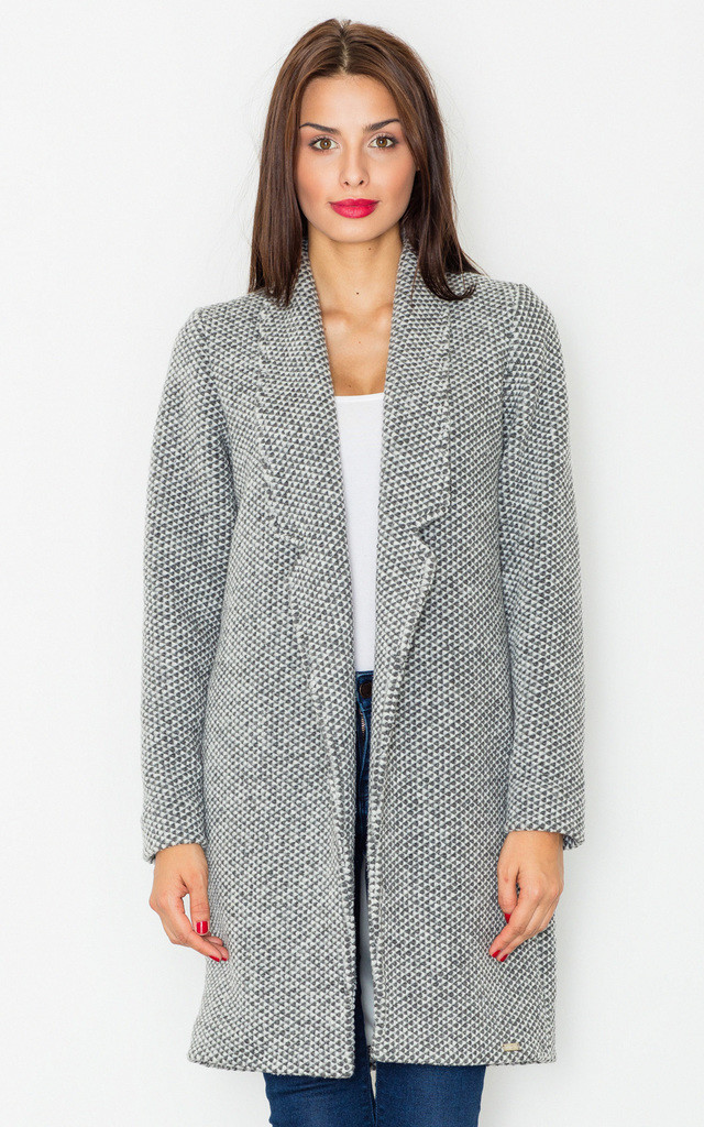 Melange grey wool coat without fastening by FIGL