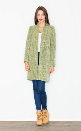 Green wool coat without fastening by FIGL