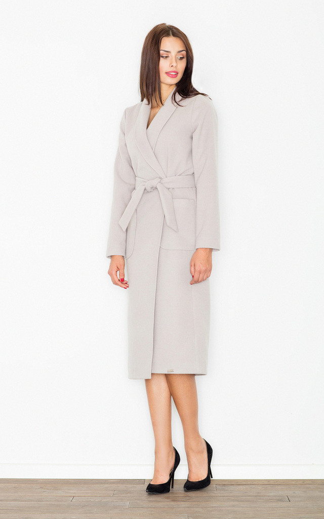 Beige belted midi coat by FIGL