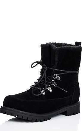 BABA Lace Up Faux Fur Cleated Sole Flat Walking Ankle Boots Shoes - Black Suede Style by SpyLoveBuy