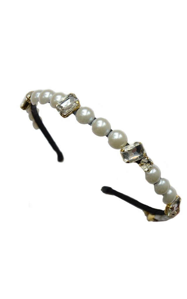 Ornate Gold And Pearl Headband by Johnny Loves Rosie
