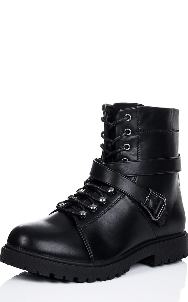 dice lace up cleated sole flat ankle boots shoes black