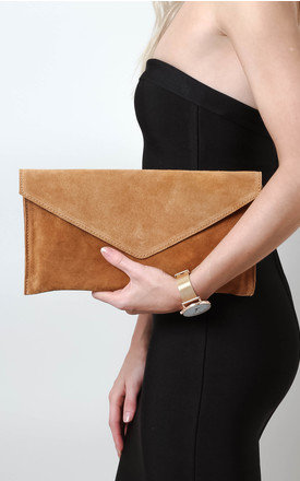 Tan Suede Envelope Clutch Bag by Pretty Lavish Product photo