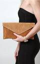Tan Suede Envelope Clutch Bag by Pretty Lavish