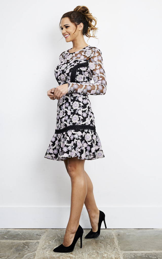 LILAC BLACK LONG SLEEVE FLORAL SKATER DRESS by True Decadence