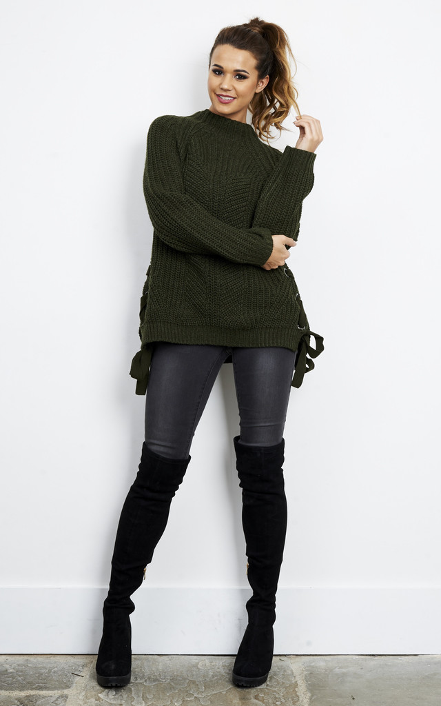 Long Sleeve Khaki Turtle Neck Jumper with Side Ties by Glamorous