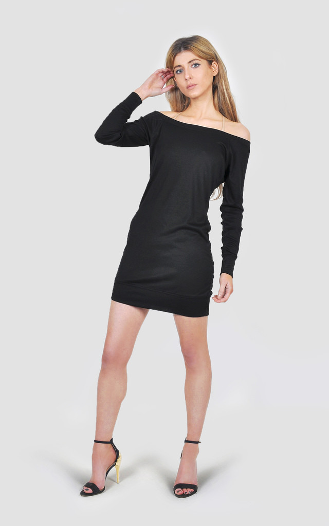 Black Lightweight jersey sweater dress by The Left Bank