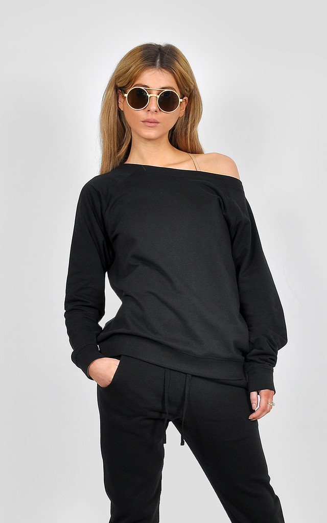 Wide neck off shoulder casual lounge jumper by The Left Bank