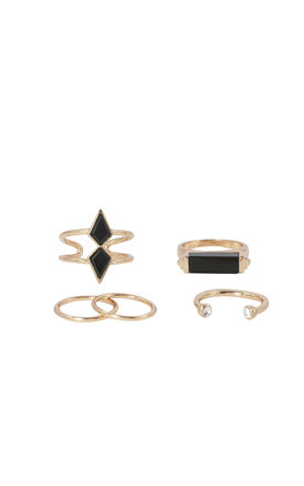 Boho Multi Ring Set With Onyx Stones Rose Gold by DOSE of ROSE Product photo