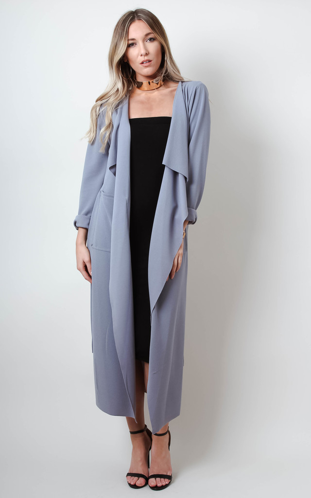 Grey Waterfall Duster Jacket Silkfred