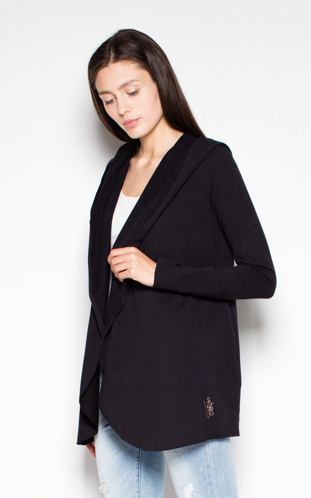 Black cotton throw jacket without fastening by Venaton