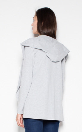 Grey cotton throw jacket without fastening by Venaton