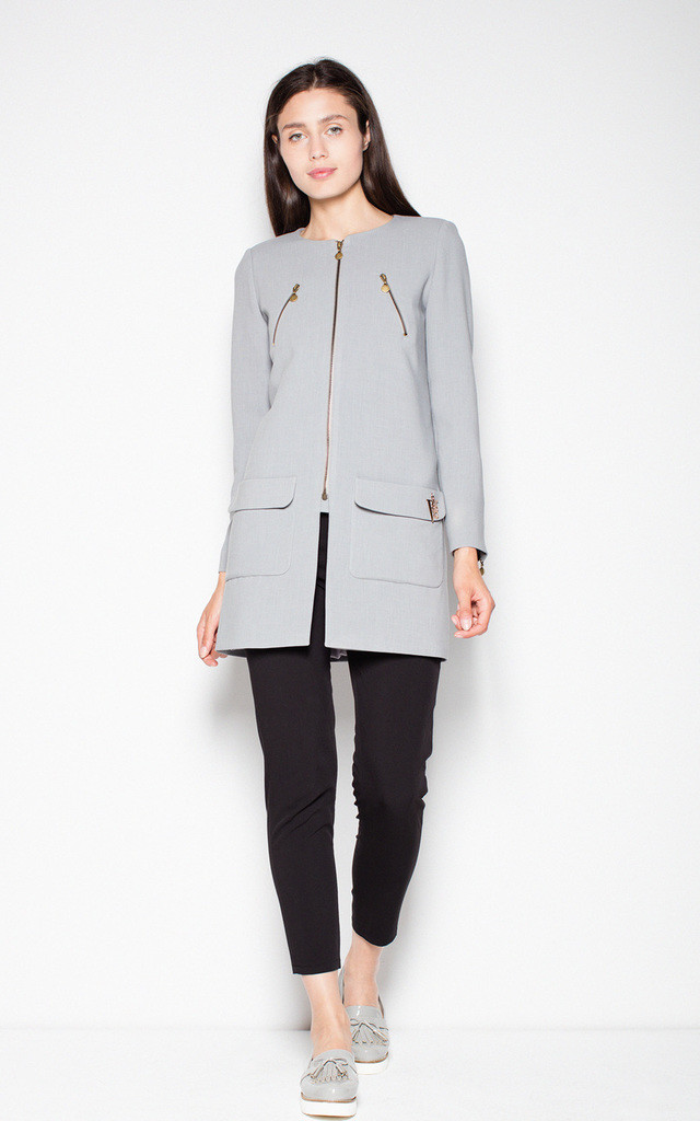 Grey jacket with zipper fastening by Venaton
