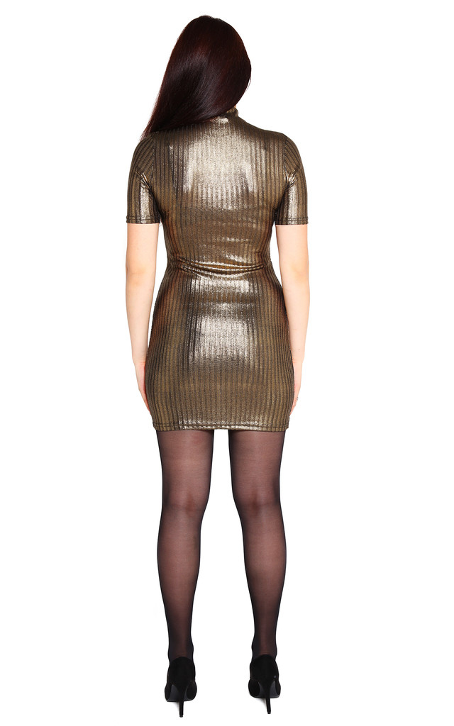 Bronze Ribbed Mini Dress by Jezzelle