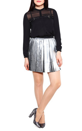 Silver Faux Leather Pleated Skirt by Jezzelle
