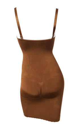 Bodycon Slip Dress Seamless Body Fitted Shaper Brown Shapewear (Wear-Your-Own-Bra) by Queen of the Crop
