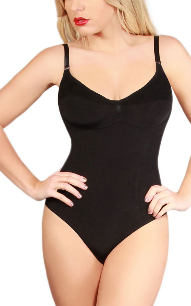 Latest Black Bodysuit No Long Sleeve Seam Free Shapewear Leotard Gym Ideal For Evening Dresses and Skirts by Queen of the Crop