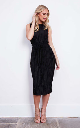 Black Pleated Midi Tie Dress by Glamorous Product photo
