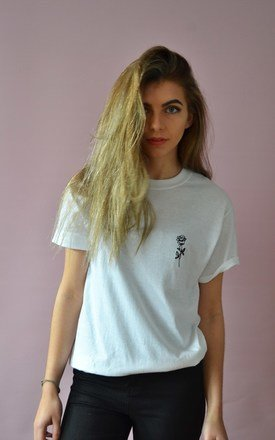 Embroidered rose tee by Emma Warren