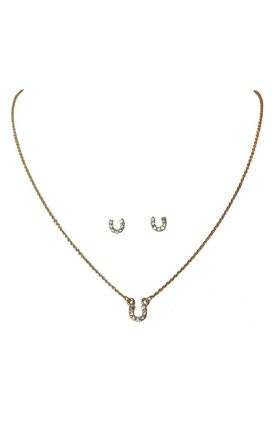 Horseshoe Necklace And Earrings Set by Johnny Loves Rosie