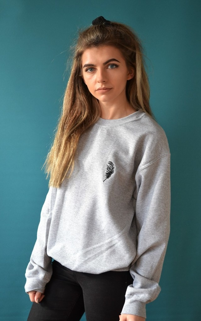 Embroidered feather Jumper by Emma Warren