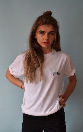 Embroidered Slogan Girlboss White t-shirt by Emma Warren