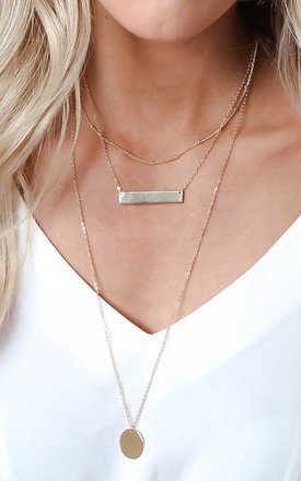 Multilayer Drop and Bar Necklace - Gold by Pretty Lavish