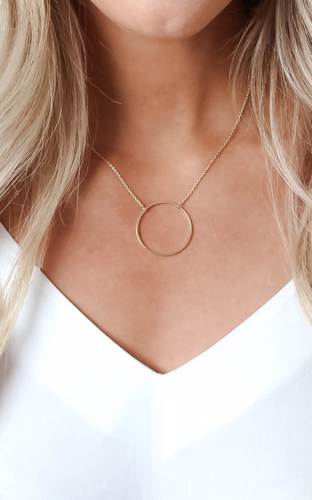 Gold Ring Pendant Necklace by Pretty Lavish