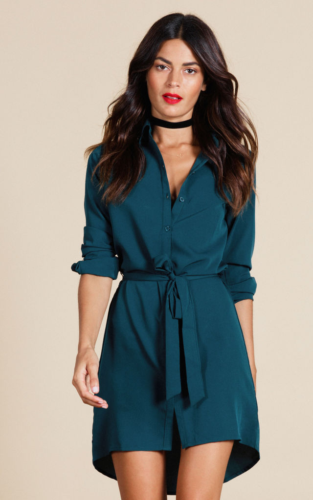 06969e3a49 Mini Shirt Dress In Pine Green