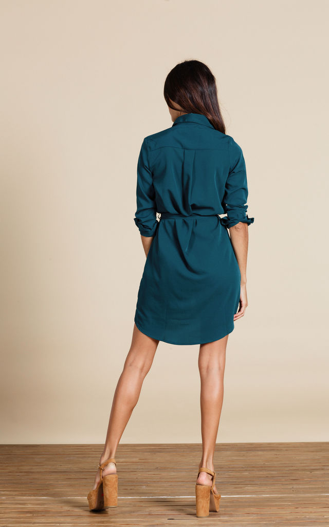 Mini Shirt Dress in Pine Green image