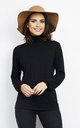 BLACK LONG SLEEVE TURTLE NECK FRILL TOP by Aftershock London