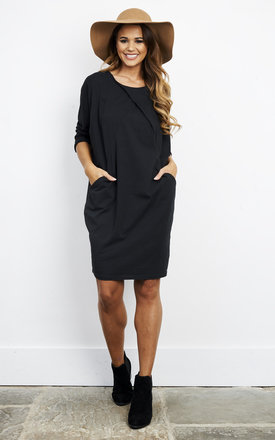 Black Cotton Two Pocket Dress by Bella and Blue Product photo