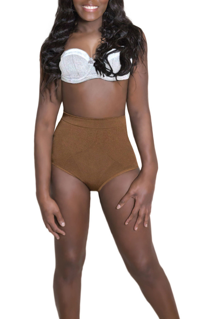 Slimming Lingerie Shapewear High Waisted Knicker Brief Pants Nude Brown by Queen of the Crop
