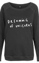 Dreaming of Unicorns Black Scoop Neck Sweater by Letter Clothing Company