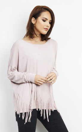 Soft Tassel Poncho Jumper Pink by Bella and Blue