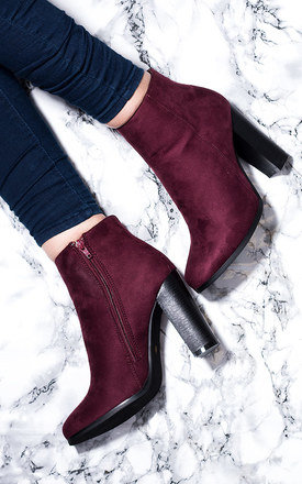 THORA Block Heel Ankle Boots Shoes - Bordeaux Suede Style by SpyLoveBuy
