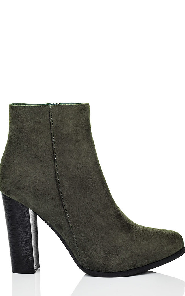 THORA Block Heel Ankle Boots Shoes - Khaki Suede Style by SpyLoveBuy