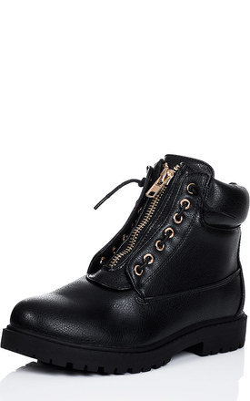 CYRA Zip Lace Up Cleated Sole Flat Biker Ankle Boots Shoes - Black Leather Style by SpyLoveBuy