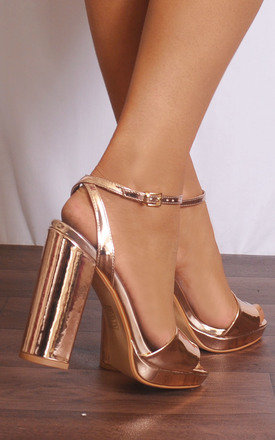 Rose Gold Metallic Strappy Sandals High Heels by Shoe Closet