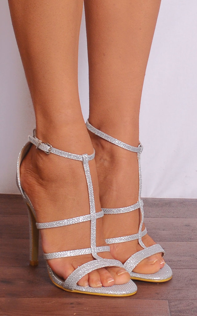 235324e88be5b Silver Glitter Metallic Strappy Sandals Stilettos High Heels by Shoe Closet