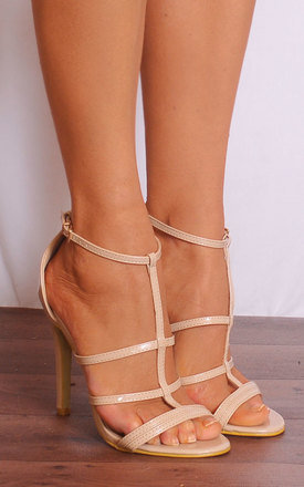 Nude Patent Faux Leather Strappy Sandals Stilettos High Heels Shoes by Shoe Closet