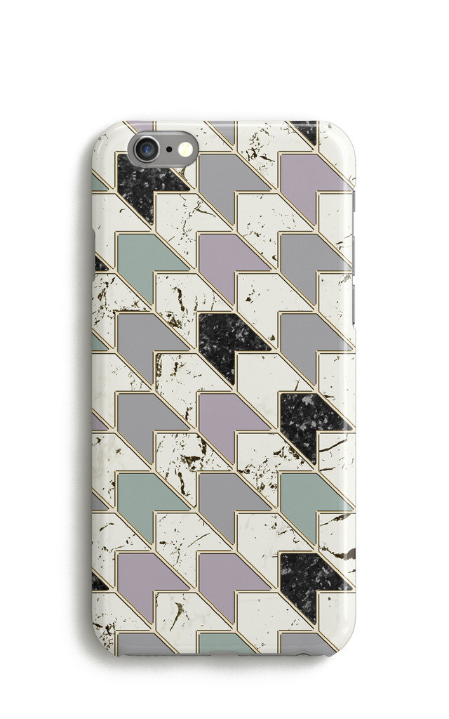 Marble Chevron Mobile Phone Case - White Green Pink by Harper & Blake