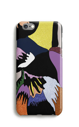 Glitter Feather Print Mobile Phone Case   Yellow Blue by Harper & Blake Product photo