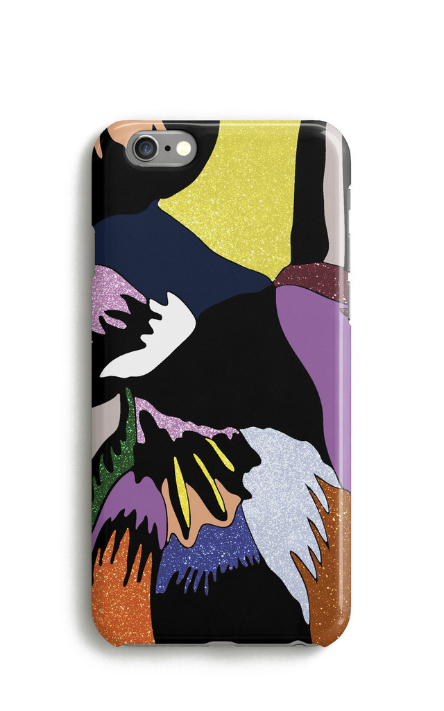 Glitter Feather Print Mobile Phone Case - Yellow Blue by Harper & Blake